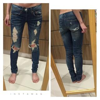 超顯瘦之韓國 rodis denim 潑漆牛仔褲 破破牛仔褲 破膝款
