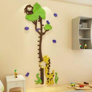 大米米雜貨~現貨~大樹 樹 長頸鹿 猴子 小鳥 鳥 雲 3d 立體 壓克力 身高貼 身高壁貼 身高尺 身高 量身高 壁貼
