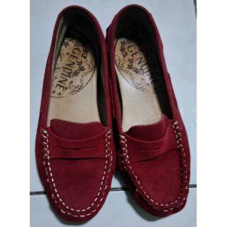 GENUINE酒紅色平底鞋