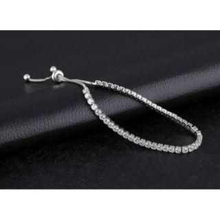水鑽細鏈純銀韓式手鍊.韓式手環.超閃水鑽手鏈.調節式手鍊.超有氣質款