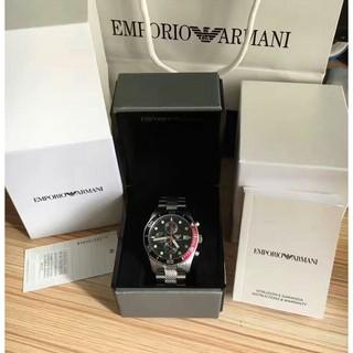 EMPORIO ARMANI / AR5855三眼計時黑色字母版銀/不銹鋼錶帶男款手錶 /正品/有保固