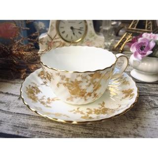 英國製明頓MINTON Gold Ancestral系列骨瓷花茶杯組