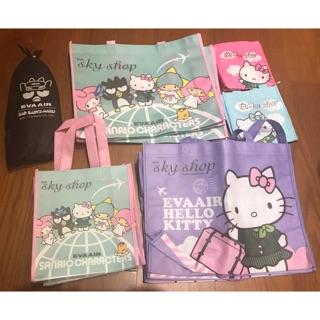 Hello kitty 長榮航空 環保購物袋 粉色圍裙 kitty拖鞋 酷企鵝拖鞋 小靠枕 枕頭