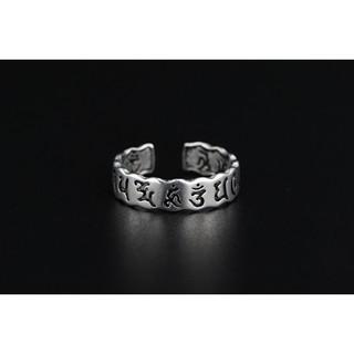 六字真言大明咒心經開口女戒指 時尚個性泰銀復古經文指環手飾品
