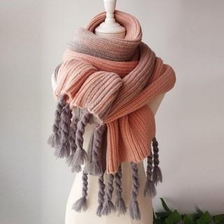 日本秋冬新款 超美圍巾 針織毛線顏色拼接 日本圍脖 加厚保暖圍巾 情侶圍巾 日本圍巾 流蘇圍巾