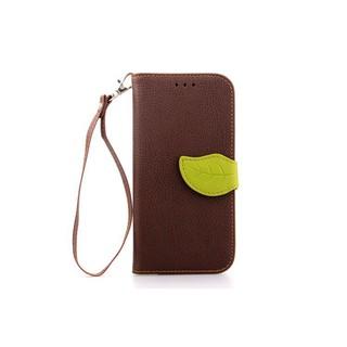 掀蓋 葉子錢包式手機殼皮套 皮革+軟膠,帶掛繩孔 適用於 HTC One m8