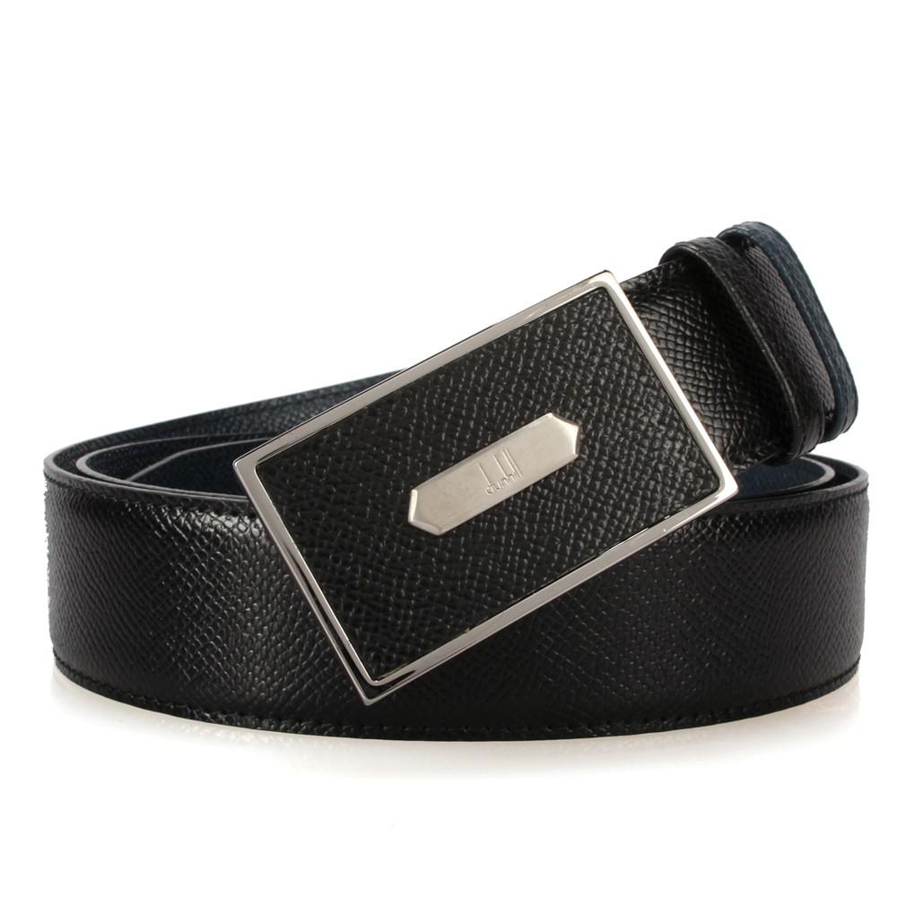 【購名牌】dunhill新款Bourdon扣式雙面皮帶(藍黑色)