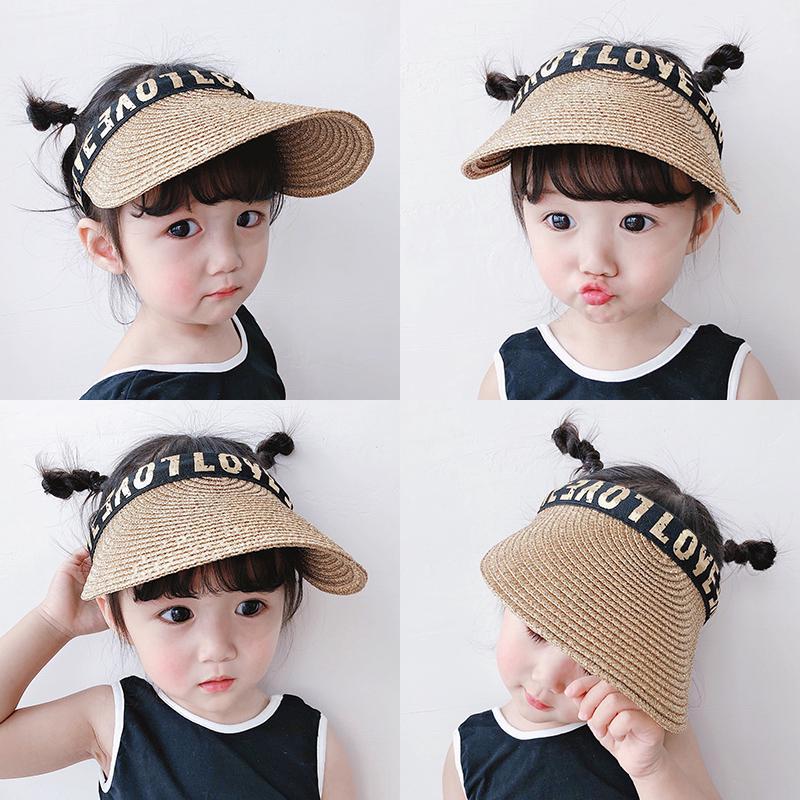 【親親寶貝】兒童草帽寶寶帽子女遮陽帽太陽帽男童防曬空頂帽女寶