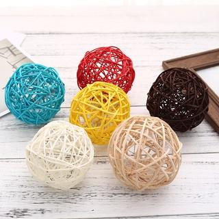 香薰彩色藤球裝飾球多色球家庭生日復古擺臺白藤球產品攝影道具