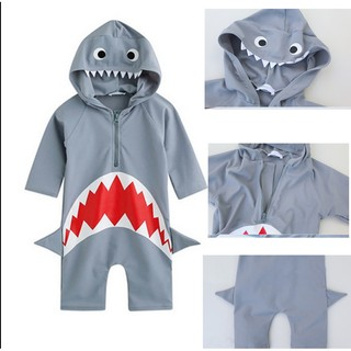 愛兒寶泡溫泉 寶寶鯊魚泳裝鯊魚 連身泳衣鯊魚長袖防曬泳衣嬰兒泳衣男童泳裝