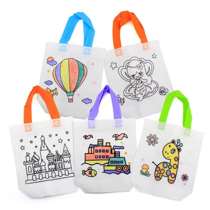 現貨《童玩繪本樂》DIY 自製手提袋 附6隻色筆及貼紙 手工勞作 美勞