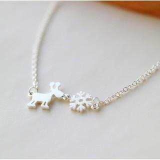 FAs925純銀項鍊批發小鹿雪花拉絲純銀項鍊韓版時尚爆款銀飾品