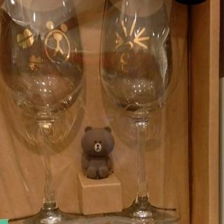 【高腳杯】 正版 LINE FRIENDS 熊大 兔兔 高酒杯 瓶塞組 酒杯 對杯 紅酒杯 葡萄酒