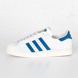 Adidas Superstar 80s Deluxe 金標 貝殼頭 白底藍條紋