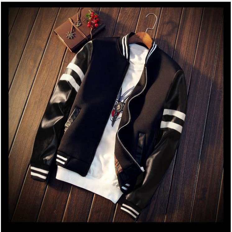 日系橫紋線條 黑白款棒球外套 皮革質感 PU材質 夾克 風衣 防風外套 皮衣 ma1【M23】