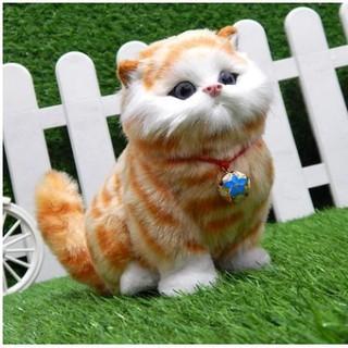 UJI模擬貓咪會叫聲毛絨兒童玩具小貓咪動物模型公仔寵物擺件生日禮物JT
