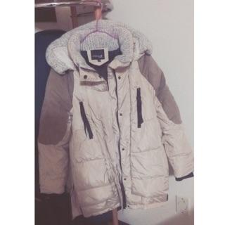近全新轉賣韓貨鋪棉羽絨拼布外套針織領造型 韓國保暖必購