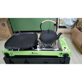 (送烤盤+收納盒) ISO認證 外銷韓國 Maxsun高功率4.4KW 不銹鋼雙口爐 攜帶方便雙口卡式瓦斯爐登山露營野炊