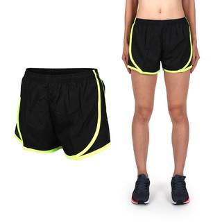 SOFO 女慢跑短褲 (路跑 健身 訓練 三分褲 黑螢光綠
