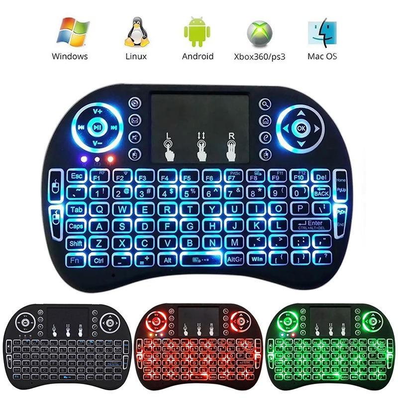 空中飛鼠 i8 2.4G迷你無線觸控鍵盤 三色背光 鋰電池充電款 中文註音倉頡 觸控面板 滑鼠 USB 安博盒子 小米