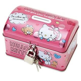 18022300020 存錢筒附鎖-KT小熊粉 凱蒂貓 KITTY 存錢筒 儲錢筒 小物收納桶 日用品 錢筒