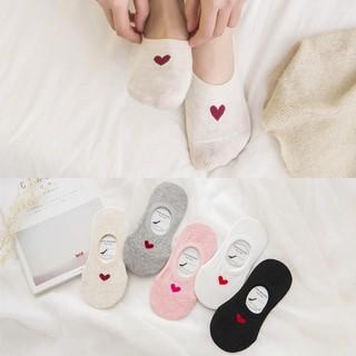 韓 愛心純棉船形襪 隱形襪 淺口防脫 防滑矽膠隱形襪 短襪 棉襪