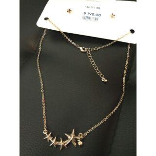 GU 浪漫星型垂墜耳環項鍊組合 鑽石星星造型 銀色玫瑰金