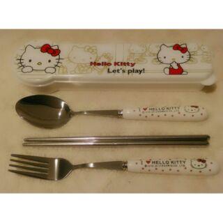 Hello Kitty 陶瓷+不鏽鋼三件餐具組