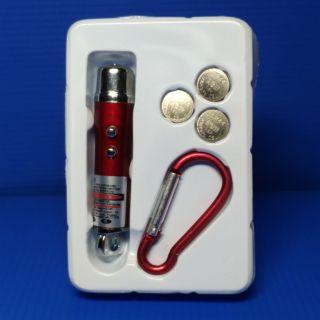 三合一紅點雷射筆B款紅色(含電池及扣環)功能(雷射筆、微光照明、閃動警示)