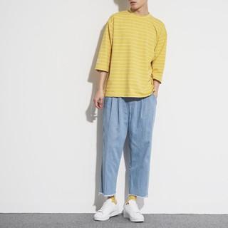 韓系清爽有型穿搭 丹寧九分破壞邊寬褲 牛仔寬褲 男女可穿