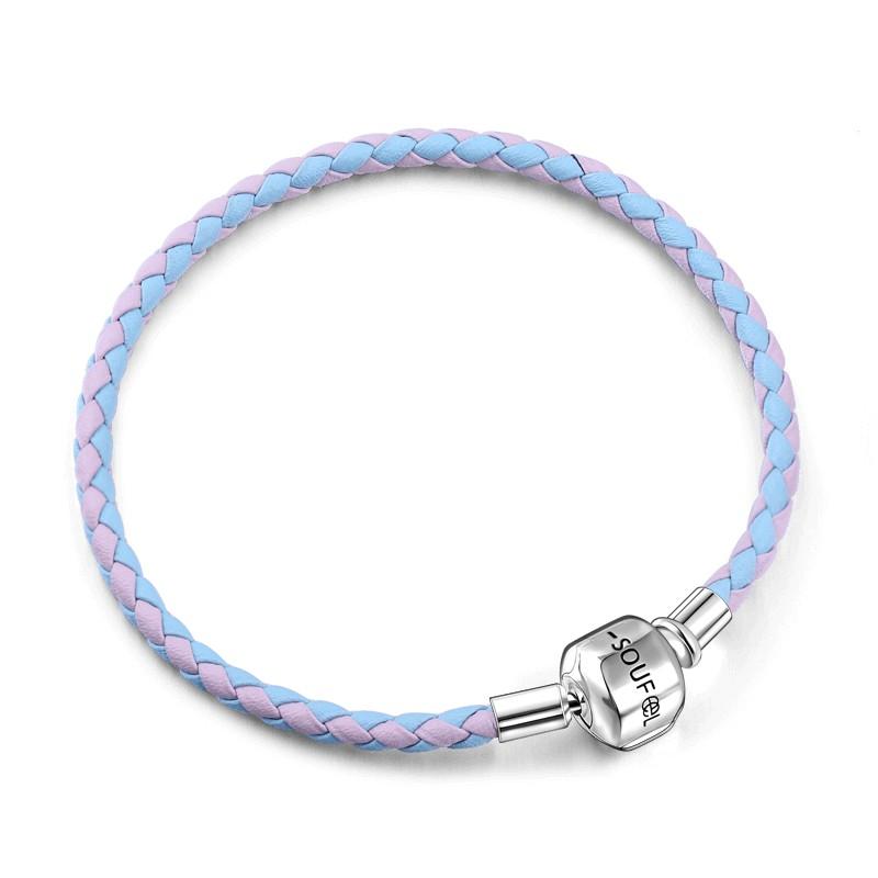 SOUFEEL 索菲爾 雙色牛皮手鍊 粉色藍色