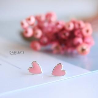 【DAHLIA 】925 純銀耳環粉紅琺瑯愛心耳飾附耳扣整體純