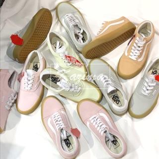 Kazima Vans Old Skool Authentic 膠底 焦糖底 焦糖 粉 粉紅 粉色 粉綠 灰 灰色 粉橘