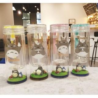 (預購)新款宮崎駿創意龍貓雙層微景觀可愛玻璃水杯大水壺280ml