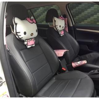 亞麻卡通汽車頭枕 護頸枕 可愛女創意頭靠墊 汽車裝飾用品夏四季