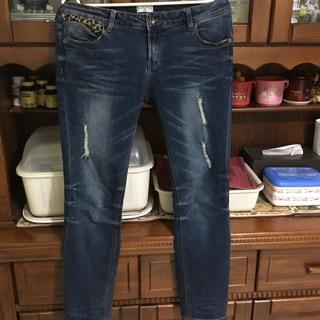 二手極新 NET 豹紋牛仔褲 女 尺寸42