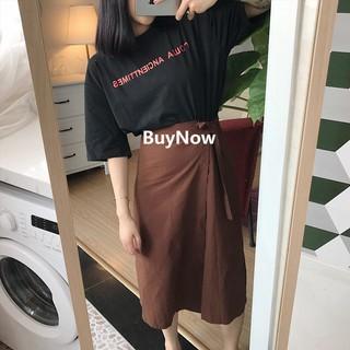 ♬~ 實拍~ 2017 韓國chic 百搭港味棉麻側邊邦帶圍裙開叉半身長裙高腰顯高顯瘦