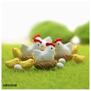 【日正】zakka 拍攝道具 微景觀 盆栽造景多肉盆栽裝飾 DIY微景觀造景公仔擺飾 小雞一家  療癒系