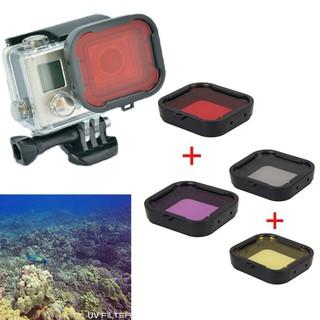 Gopro hero4/hero3+ 潛水相機濾鏡 顏色鏡 濾鏡 4個一賣(黃色+紅色+紫色+灰色)