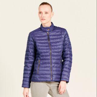全新法國AIGLE 輕量防撥水立領藍紫色90%羽絨外套 36號