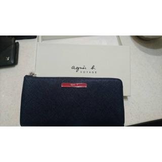 agnes b. voyage 紅LOGO防刮紋L拉鍊長夾(深藍) (全新正品)