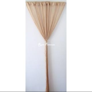 艾菲爾編織鏈鎖流蘇線簾。100cm*200cm、100cm*300cm(米金、棕金色)