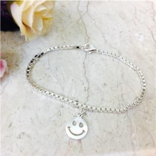 新品特價 925純銀亮面氣質Tiffany同款威尼斯鍊 圓臉笑臉吊墜 手鍊 手環  鑲有925字樣 非鈦鋼、非鍍銀!