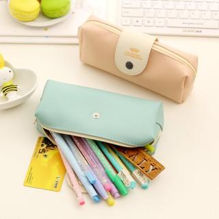 賣場滿199 發貨簡約小清新純色皮革筆袋大容量中學生女韓國復古鉛筆盒