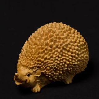 黃楊木精雕小刺蝟 寵物木雕擺件