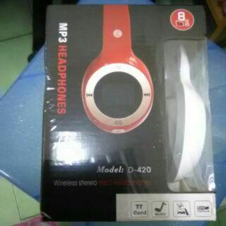 全新未拆 mp3插卡 藍芽 耳罩式 耳機 白色 Model:D-420 mp3 HEADPHONES