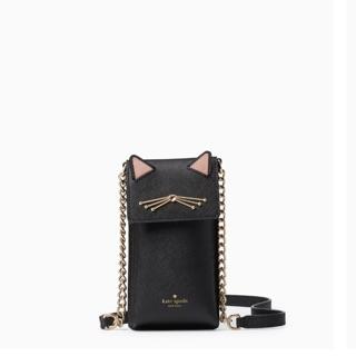 美國代購Kate Spade 超可愛黑色貓咪真皮手機包