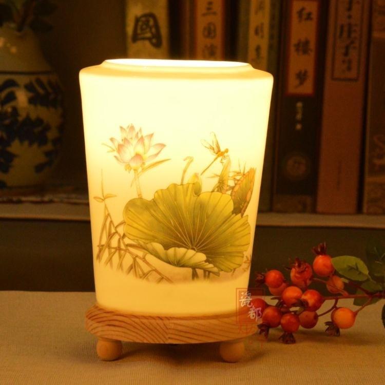 新中式 實木檯燈暖光護眼陶瓷檯燈 臥室書桌燈