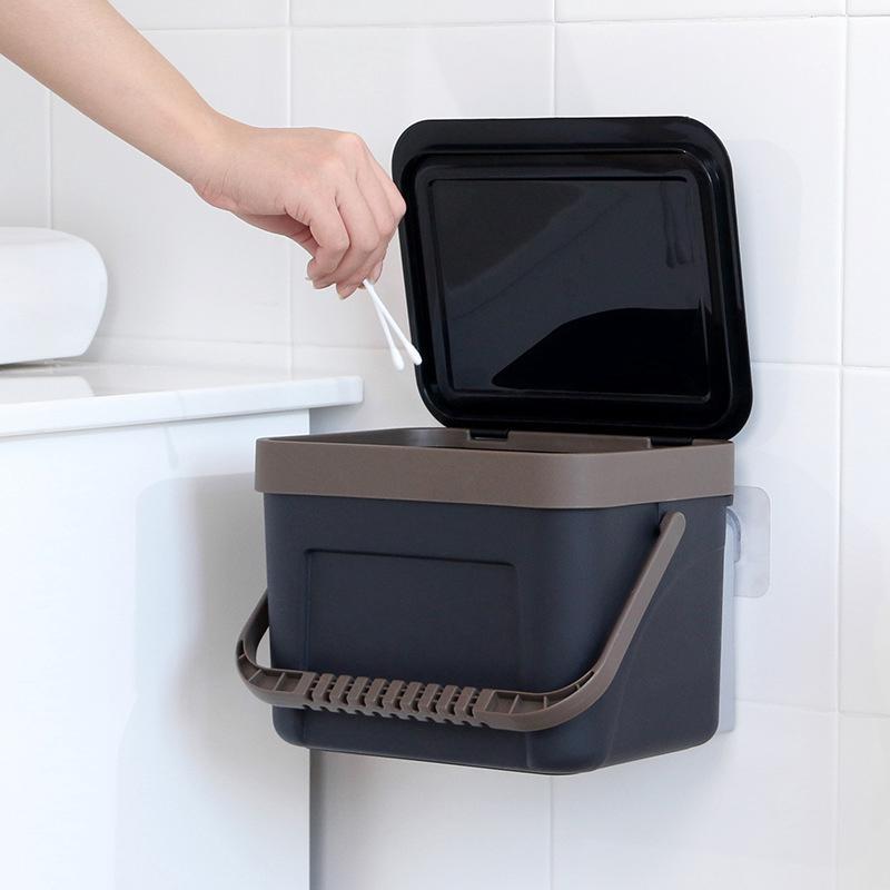 無痕貼壁掛式垃圾桶家用廚房手提帶蓋收納桶 衛生間