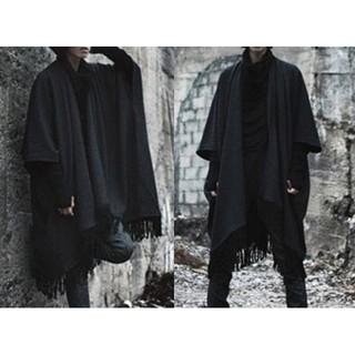 (流蘇披肩外套)韓系休閒罩衫外套男 韓版修身長外套 歐美寬鬆長版外套 黑色外套 男外套 男披肩【韓瘋塔】BEAST同款
